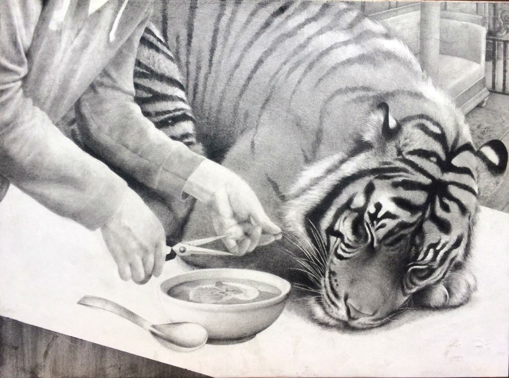 Artist: Dan Beudean, Title: How to Kill a Sultan, Information: graphite on paper mounted on wood, 30x40 cm, 2018, Description: A Tiger is fed
