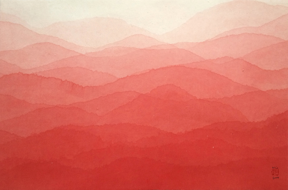 Minjung -Kim-Red- Mountain- Watercolor-mulberry-paper