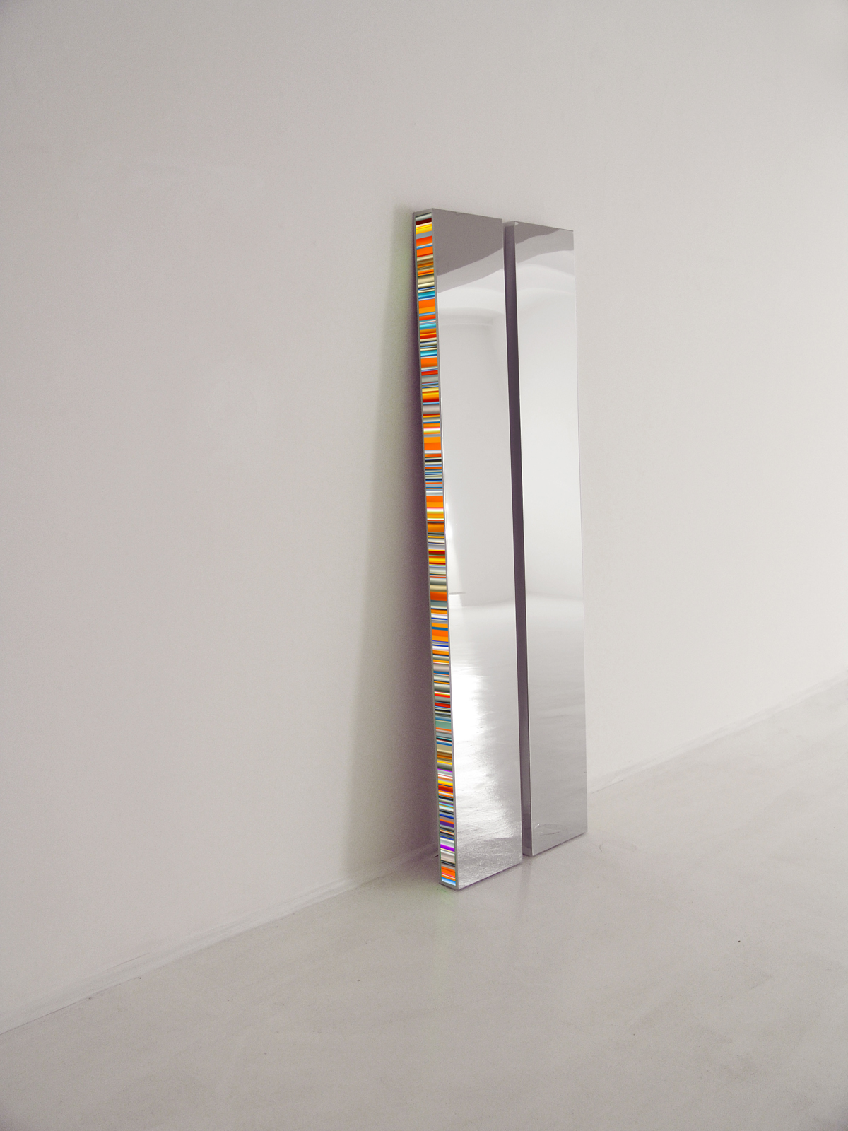 Twin (diptych), Slide on Plexiglas, stainless steel light box, LED lights (colour change) and remote control, 200 x 30 x 8 cm each, 2016