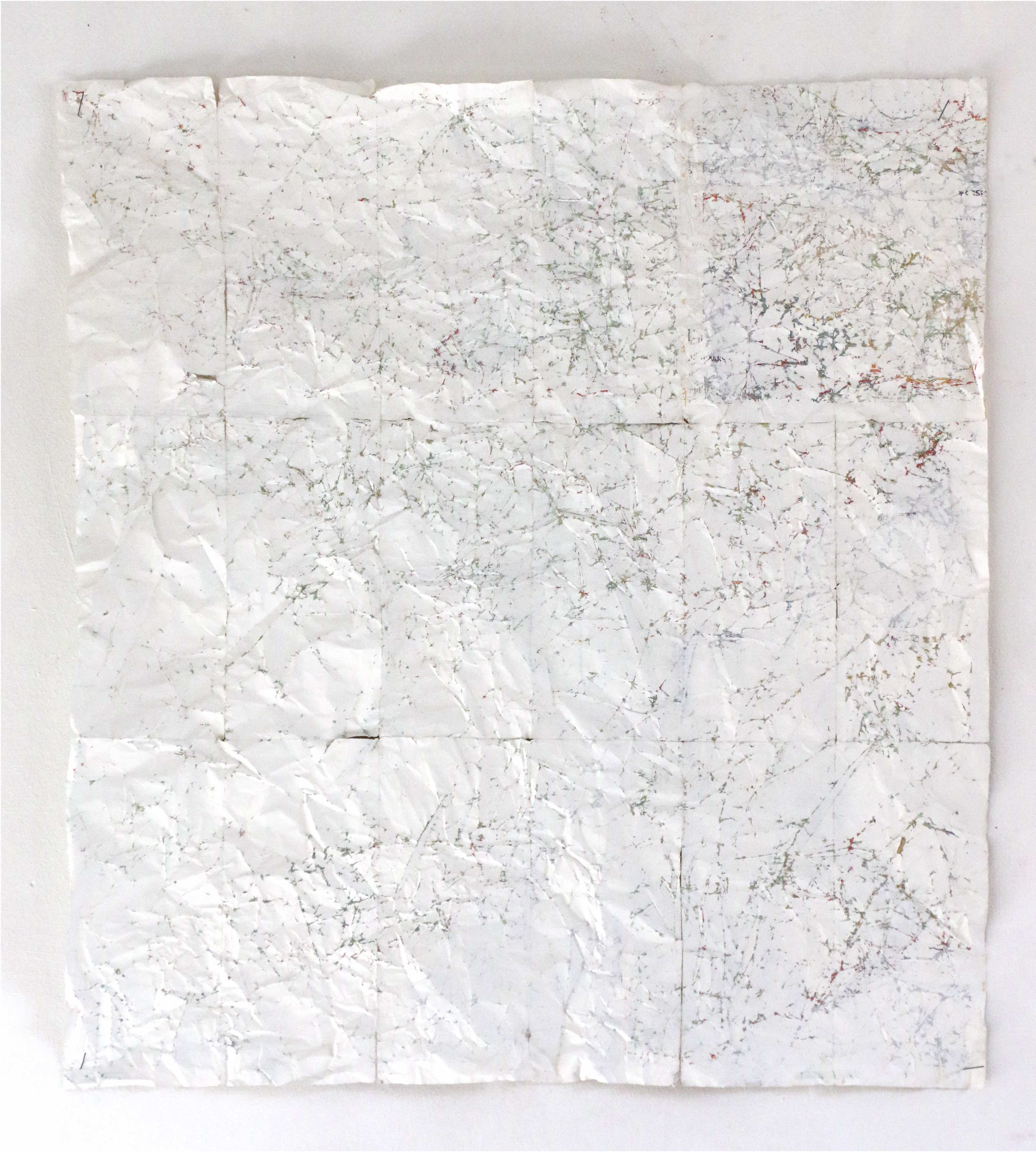 Sophie Bouvier Ausländer - Lost (White), Gouache on maps, 73 x 65 cm, 2015