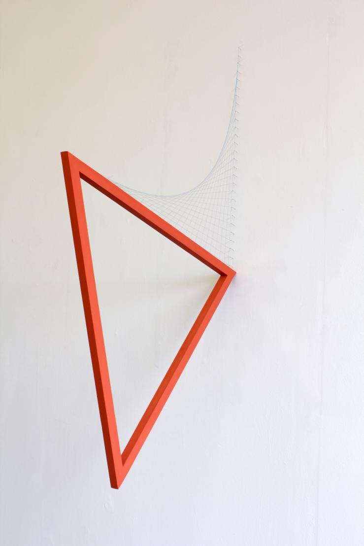 Kate Terry, Series I no.7 (orange)  Painted wood, thread, pins  Triangle measures   65.5 x 59 x 57.5 x 2 cm  2012